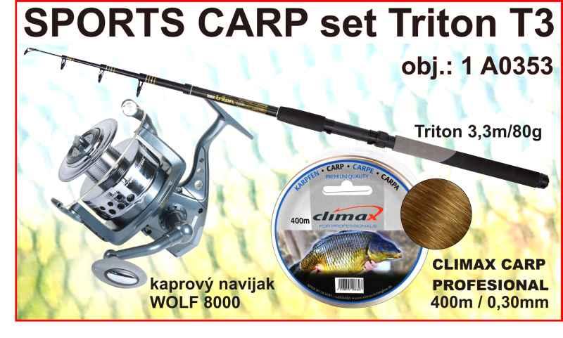 SPORTS CARP set Triton tele 3,3m / 80g + naviják + silon