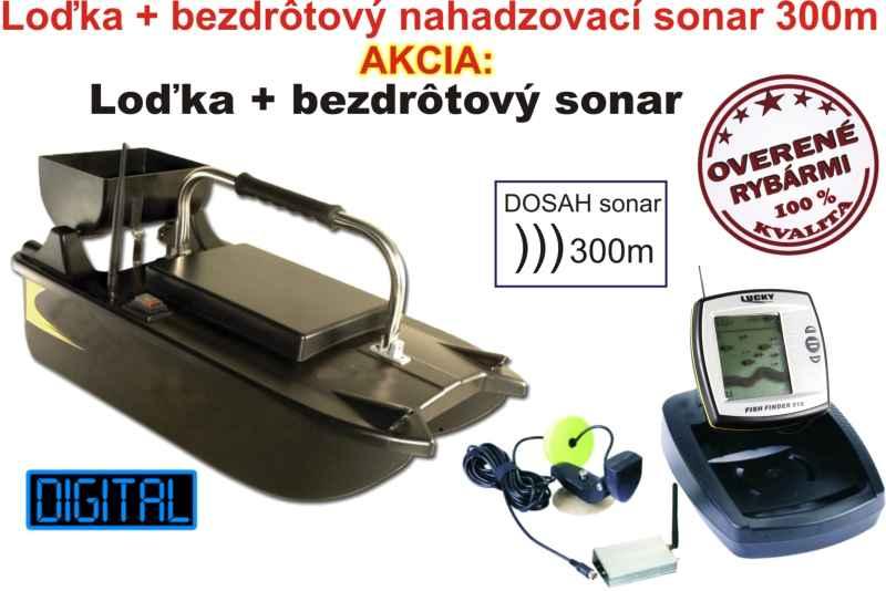 Akční set-zavážecí loďka a bzdrátový sonar 300m