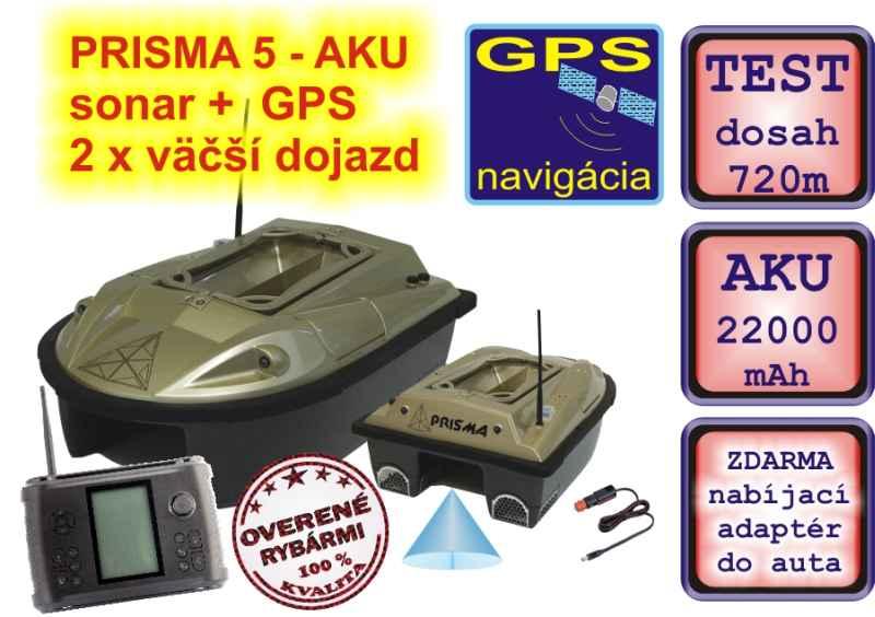 Zavážecí loďka PRISMA 5 AKU sonar +GPS + 24 000mAh aku
