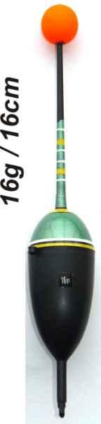 Splávek na ryby, délka 160mm / nosnost 16 gr