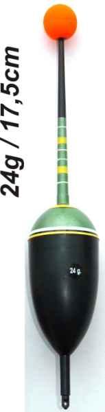 Splávek na ryby, délka 175mm / nosnost 24 gr