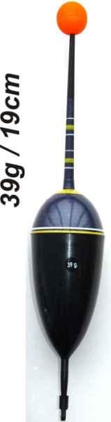 Splávek na ryby, délka 190mm / nosnost 39 gr