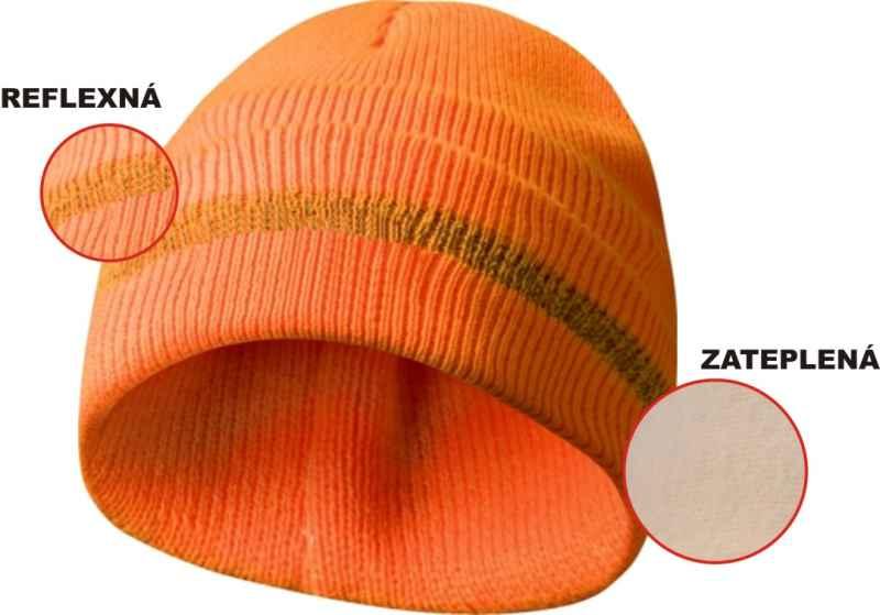 Zateplená čepice s reflexním páskem - oranžová