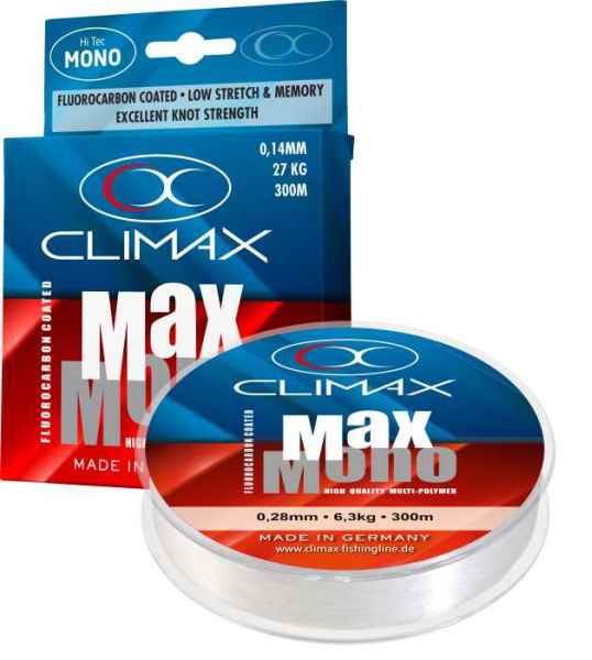 Speciální přívlačový silon CLIMAX Max-Mono 300m 0,16mm / 2,4kg / 300m