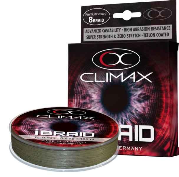 Pletená šňůra Climax iBraid zelená oliva 135m 0,14/11,3kg