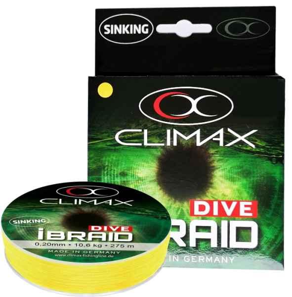 Potápivá šňůra Climax iBraid DIVE žlutá 135m 0,22mm 11,8kg