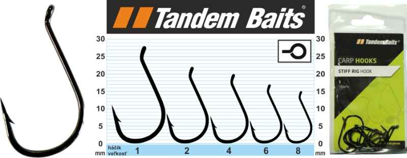 Rybářské háčky kaprové Stiff Rig Hook Tandem Baits, velikost 1, 10ks