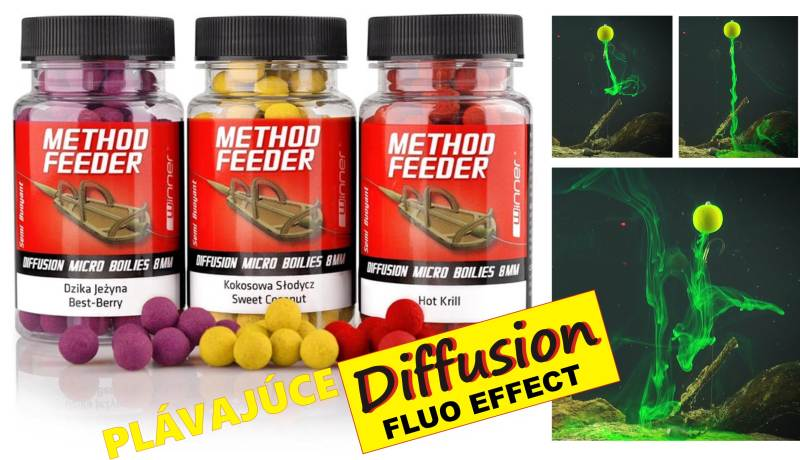 Method / Feeder - Diffusion Micro Boilies -plovoucí/40g Hot Krill - or