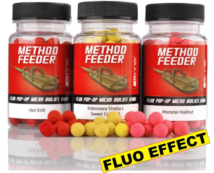 Method/Feeder-Fluo Pop Up Micro Boilies - 8mm/35g Hot Krill
