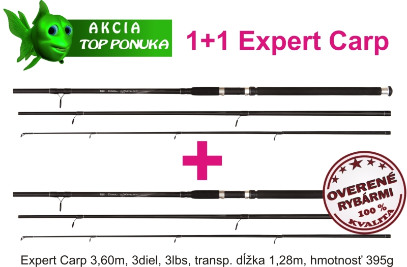 akce 1 + 1 44 1082361 x2 cool carp 3,6m / 3dílný / 3lbs