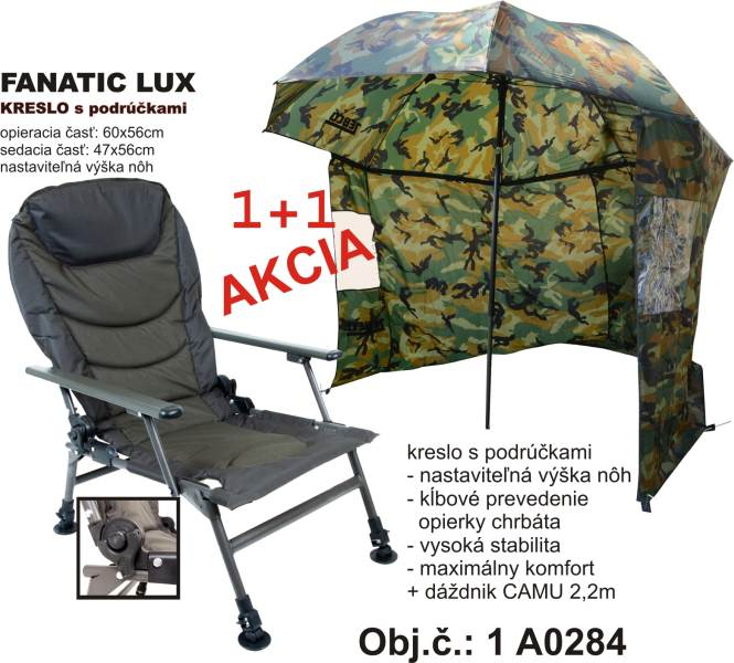 Akce Rybářské křeslo + deštník Camu 220cm s bočnicí