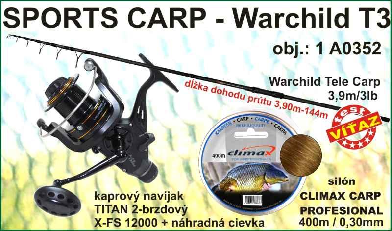 SPORTS CARP set Warchild tele 3,9m / 3LB + naviják + silon