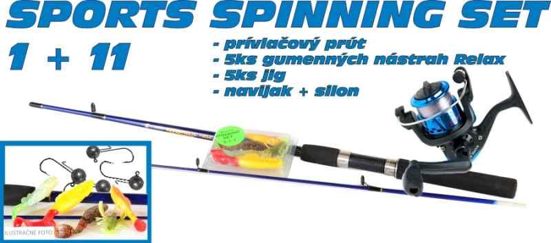 SPORTS Spinning set 1 + 11 prut + nástrahy + jigy + naviják