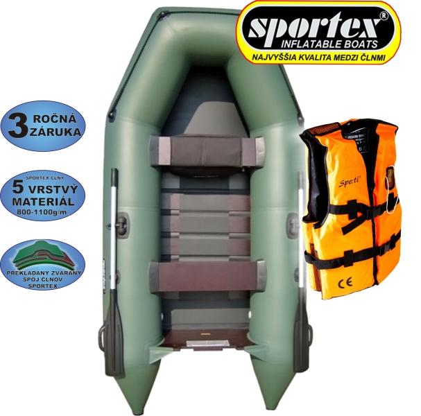 AKCE - Člun Sportex Shelf + záchranná vesta,zelený