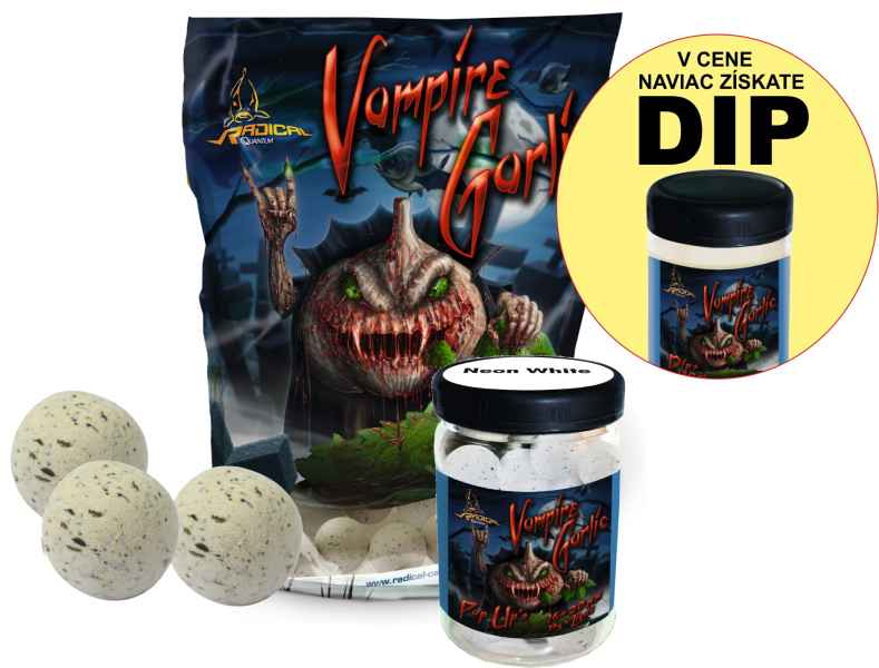 Radical Set Vampire Garlic boilies + Neon PopUp + DIP 24mm/0,8kg