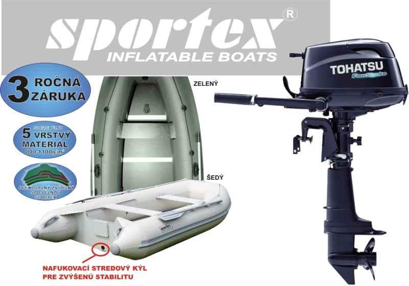 Nafukovací člun SPORTEX 360K šedý+ Tohatsu 5Hp