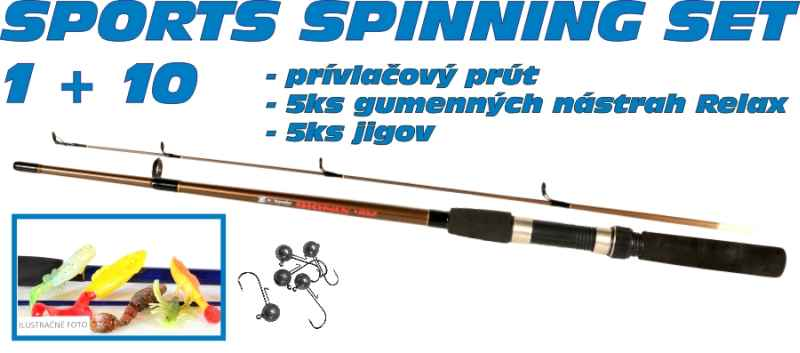 SPORTS Spinning set 1 + 10 prut a 5ks nástrah + jigy