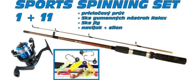 SPORTS Spinning set 1 + 11 prut + nástrahy + naviják 30