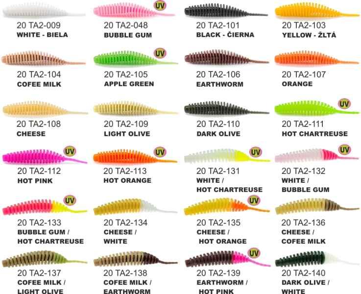 "Dipované umělé nástrahy FishUP Tanta 51mm-2,0 ""/ 9ks Olive / White"