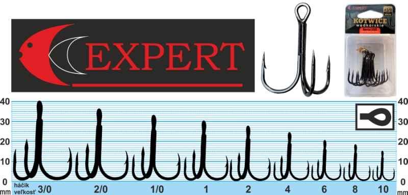 Trojháček s protihrotem Expert 1215 černý č.1 6ks