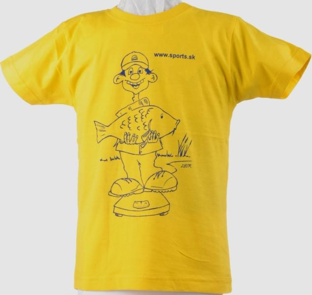 Tričko dětské Rybář váží kapra žluté č.9(9-10roků)