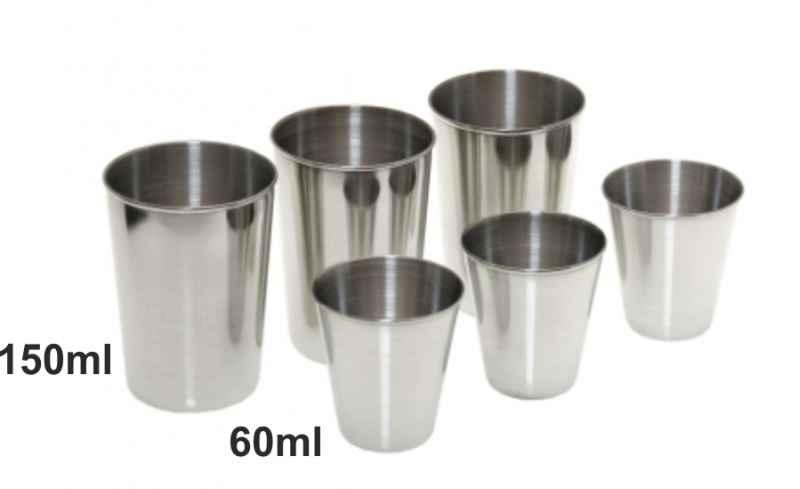 Sada nerezavějících sklenic 3x60ml 3x150ml v pouzdře