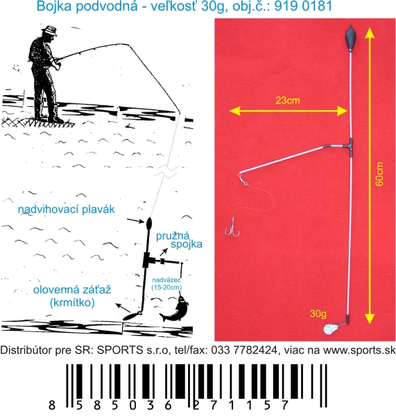 Podvodní bójka 30g / 60cm / 23cm